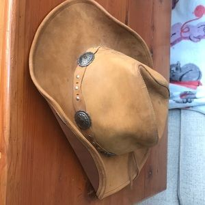 Light brown leather Stetson cowgirl hat.